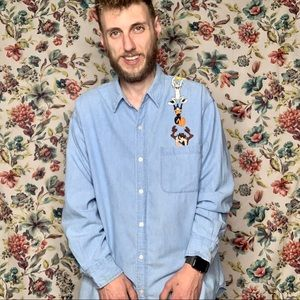 90's vintage Looney Tunes denim patches button up